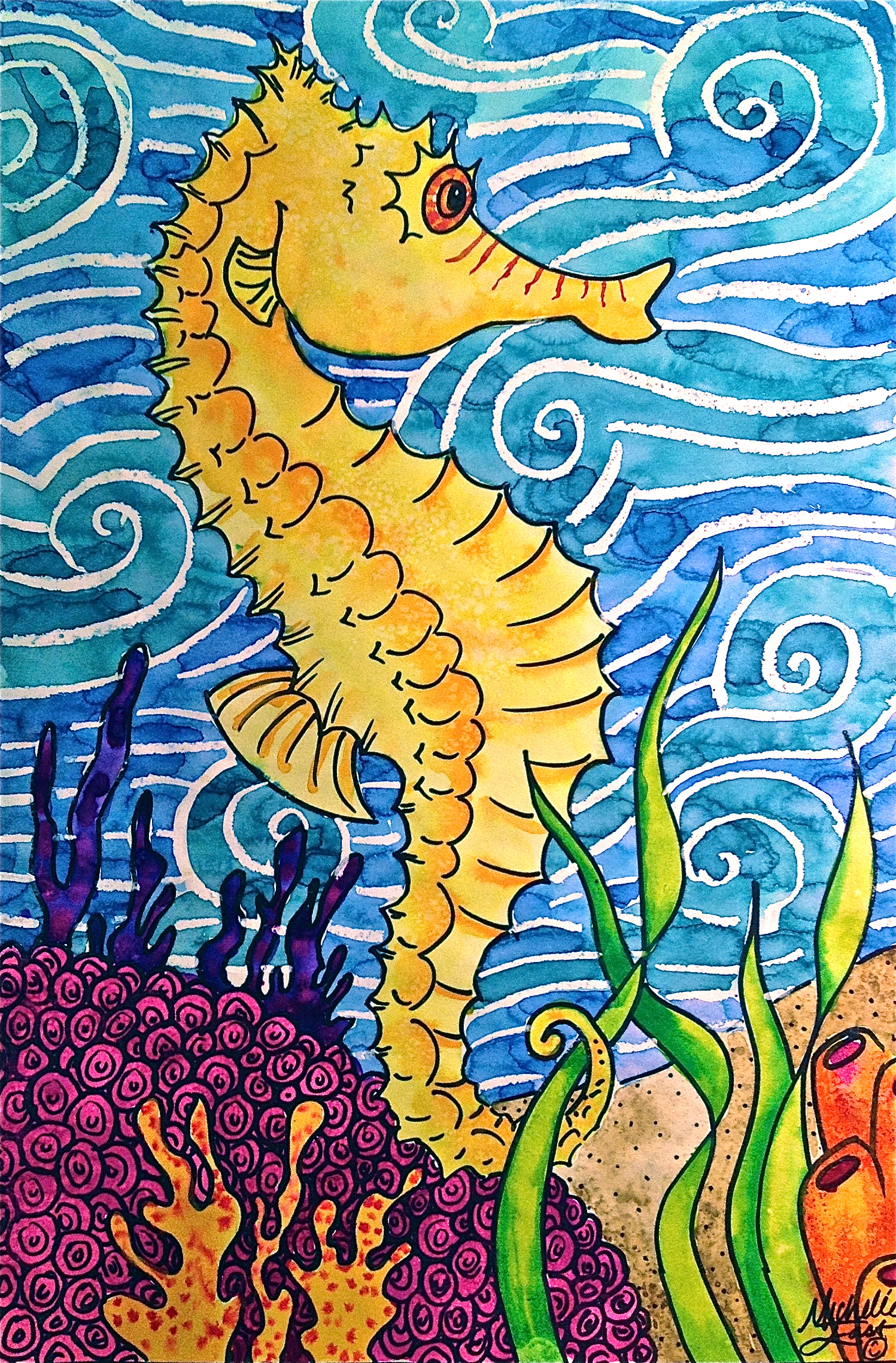 Seahorse Watercolor Painting Warm And Cool Colors