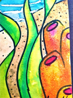 Coral Texture Sea Horse Oil pastel & watercolor resist