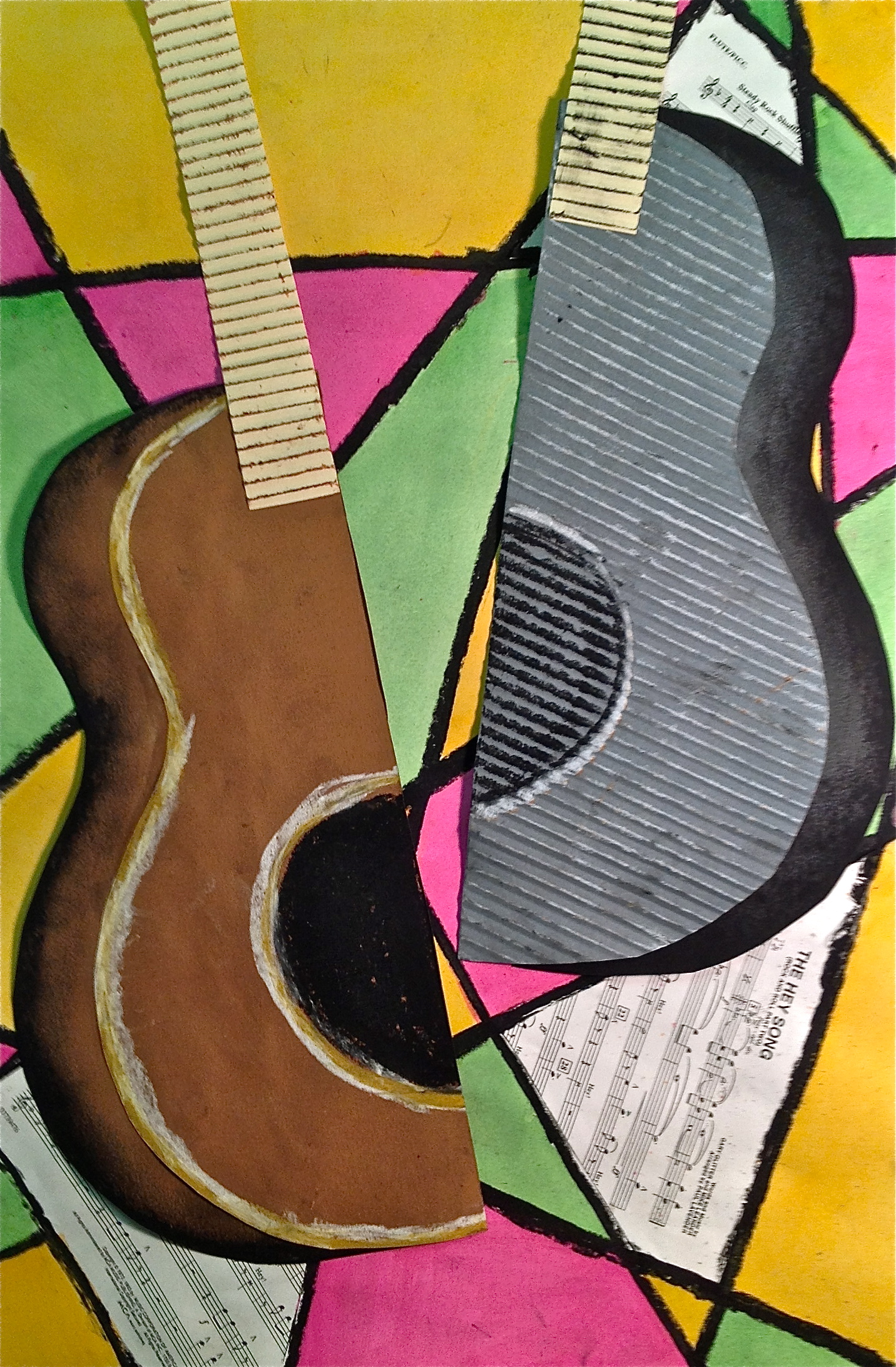 Abstract Art Guitar Or Music Instrument Mixed Media Lesson Create Art With Me
