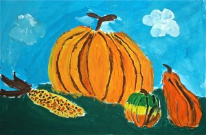 Pumpkin Watercolor Still Life Painting