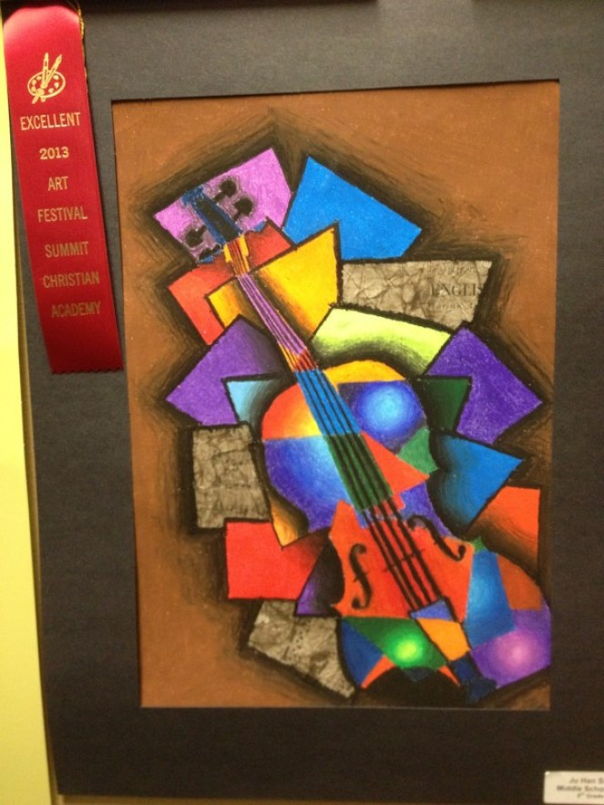 Cubism Instrument Oil Pastel and Collage Art Lesson