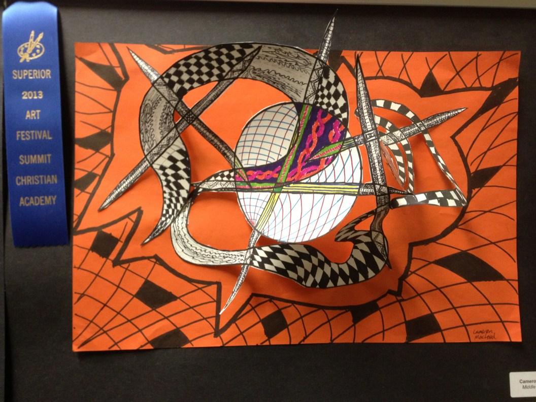 Zentangle Paper Sculpture by Cameron
