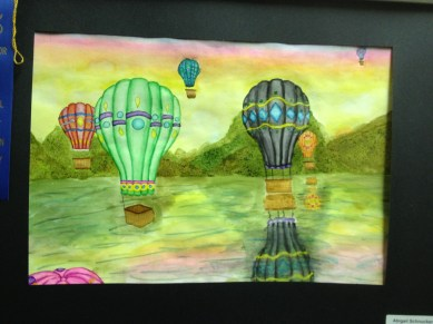 Hot Air balloon Watercolor by Abigail