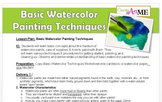 Basic Watercolor Painting techniques lesson plan and worksheet