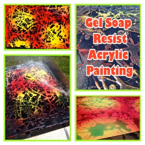 Gel Soap Resist Acrylic Painting