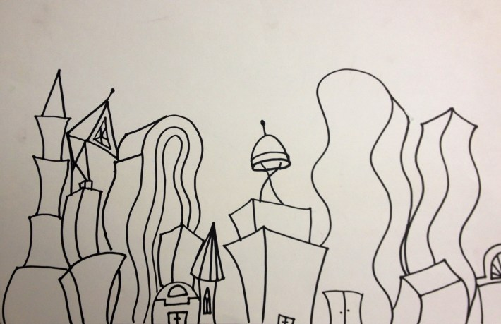 Dancing Skyscrapers Active Lines Elementary Art Lesson