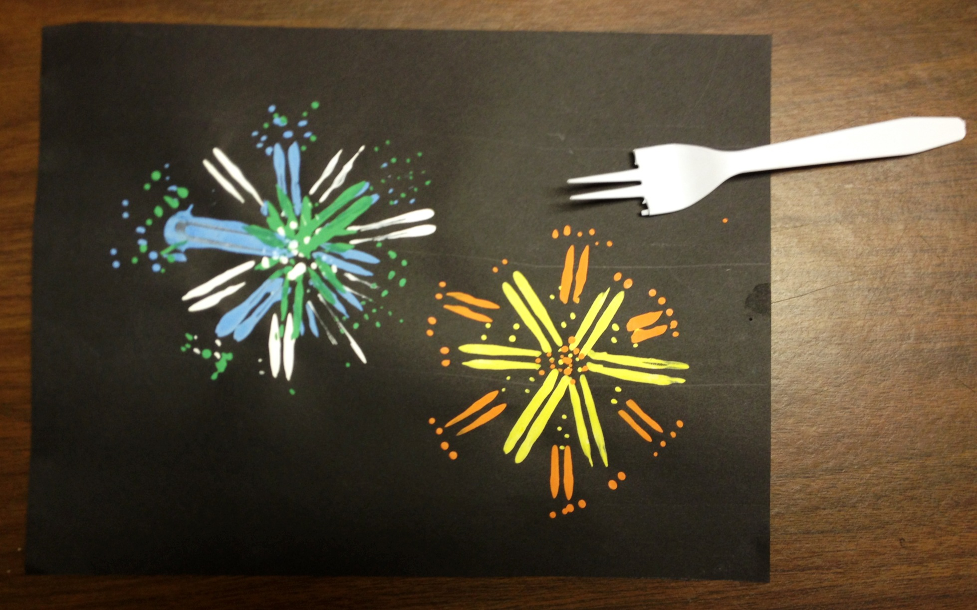 Painted Fireworks With Fork