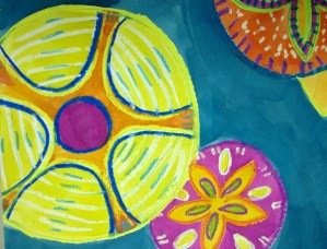 Sand Dollar Pattern Watercolor Resist
