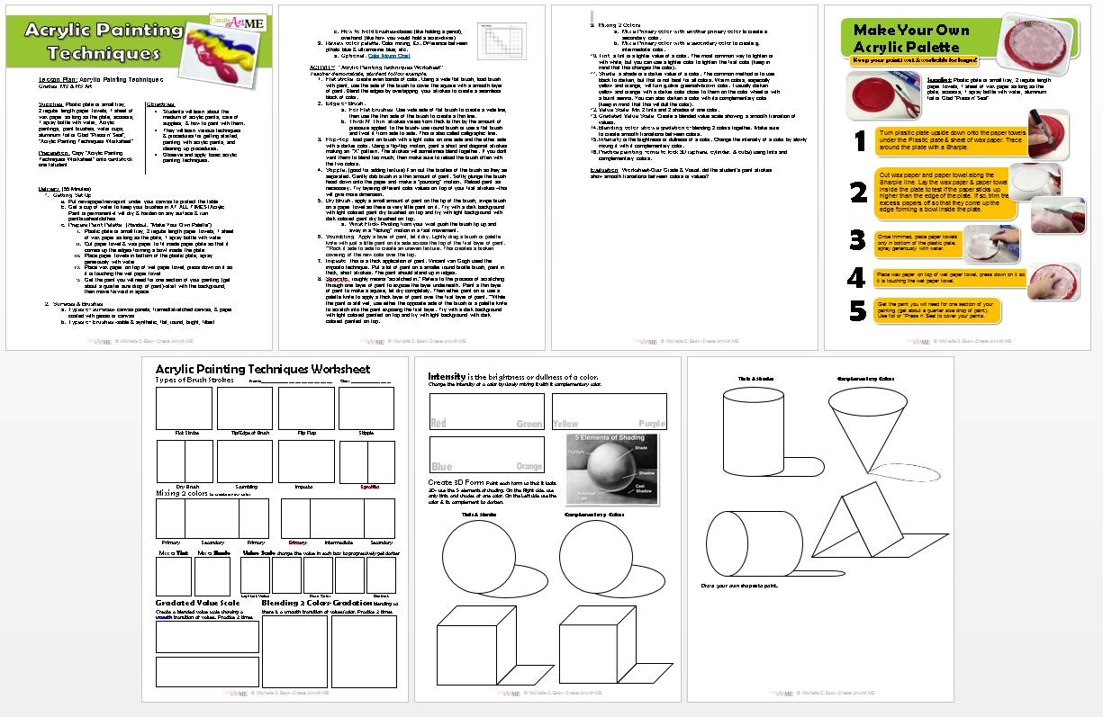 acrylic painting techniques lesson plan  u0026 worksheet