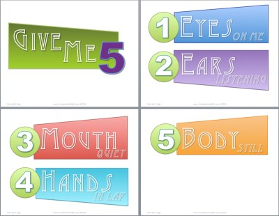 Give Me 5 Sign Classroom management Sign