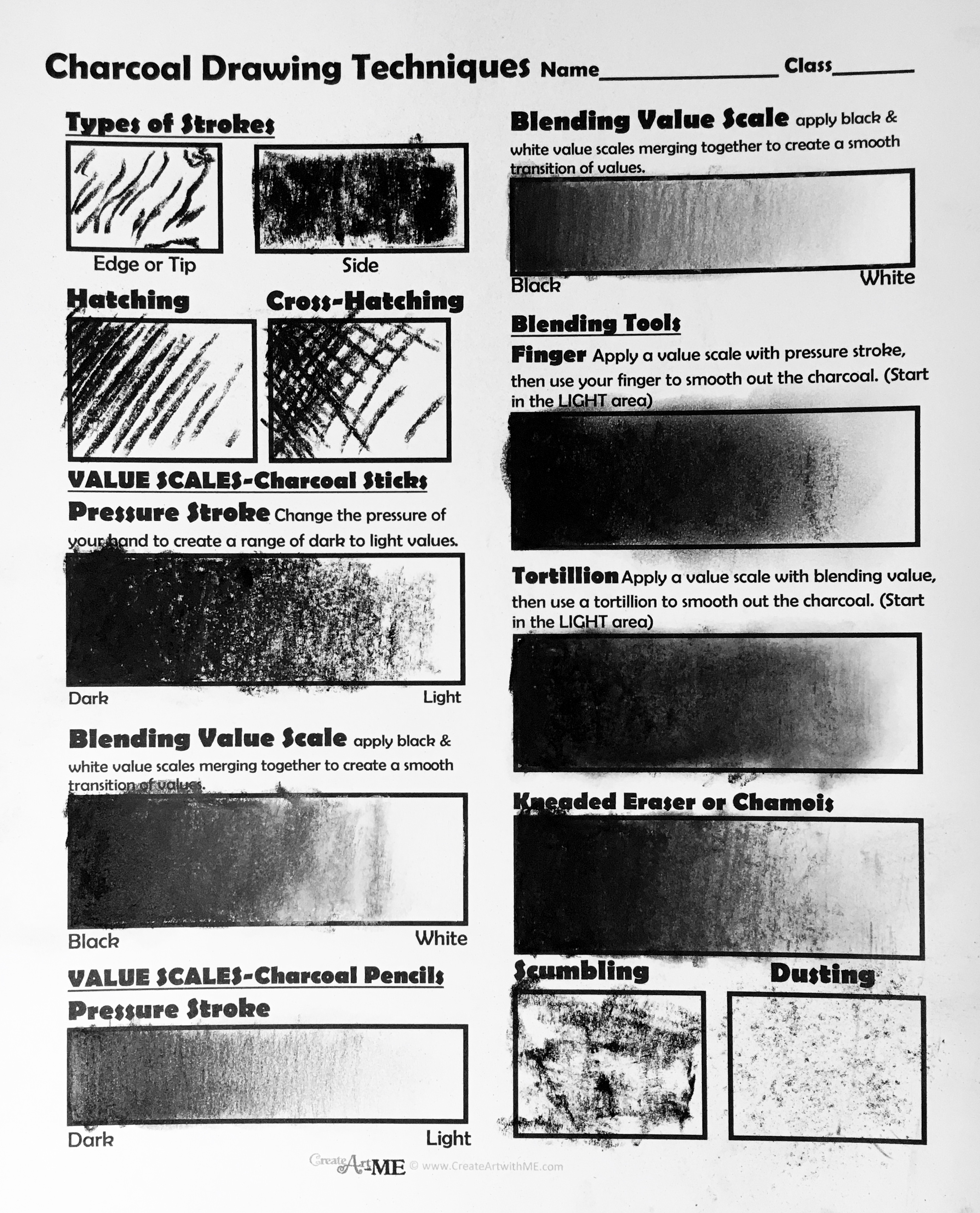 charcoal drawing techniques lesson plan  u0026 worksheet