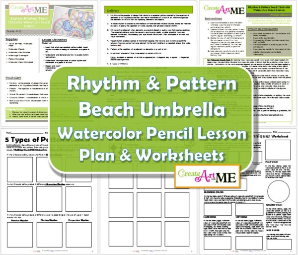 Rhythm Beach Umbrella Watercolor Pencil Lesson Updated 2015 - more worksheets