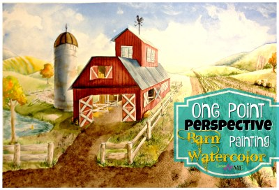 one point perspective barn waercolor painting art lesoon