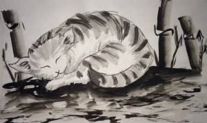 Sumie Painting Lesson cat with bamboo