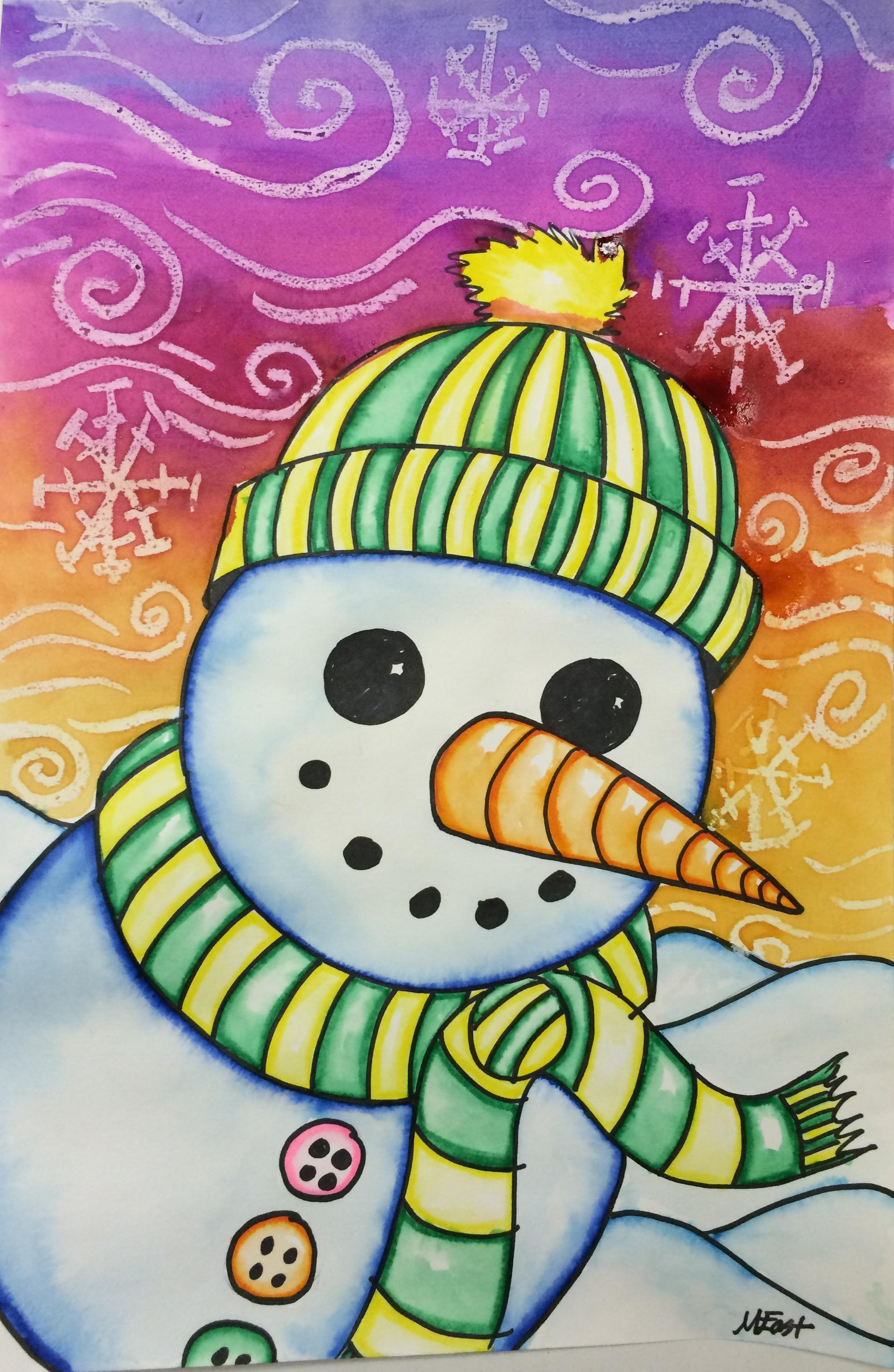 Snowman Painting With Markers Amp Watercolor Resist