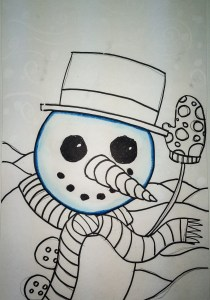 Snowman Painting with Markers and Crayon Resist art lesson