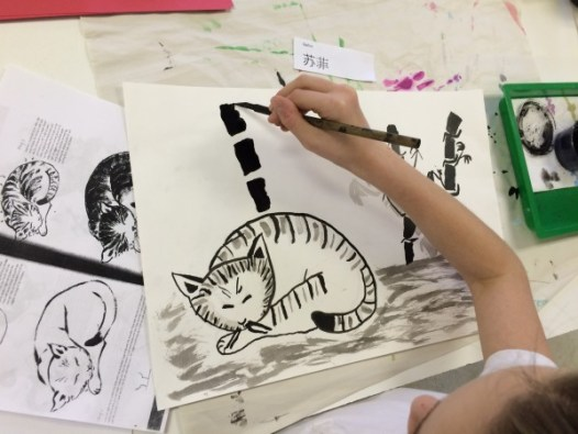 Sumie Painting Scroll art lesson for kids