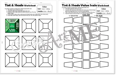 Color VALUE Tints Shades Worksheets Packet pgs1-2
