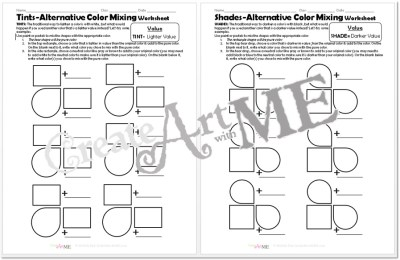 Color VALUE Tints Shades Worksheets Packet pgs3-4