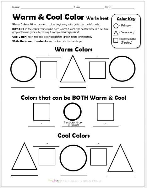warm cool color worksheet create art with me. Black Bedroom Furniture Sets. Home Design Ideas