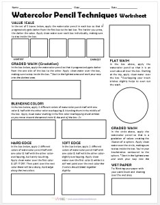 Watercolor Pencil Techniques Worksheet