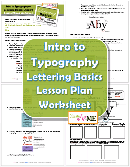 Typography Lettering Basics Lesson Plan and Worksheet