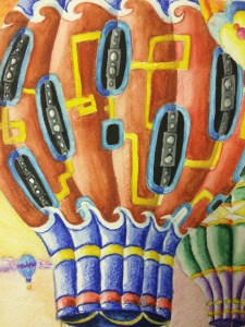 Hot Air Balloons Watercolor Pencil Painting