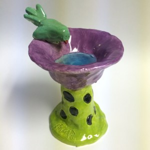 mini bird bath clay with glass beads