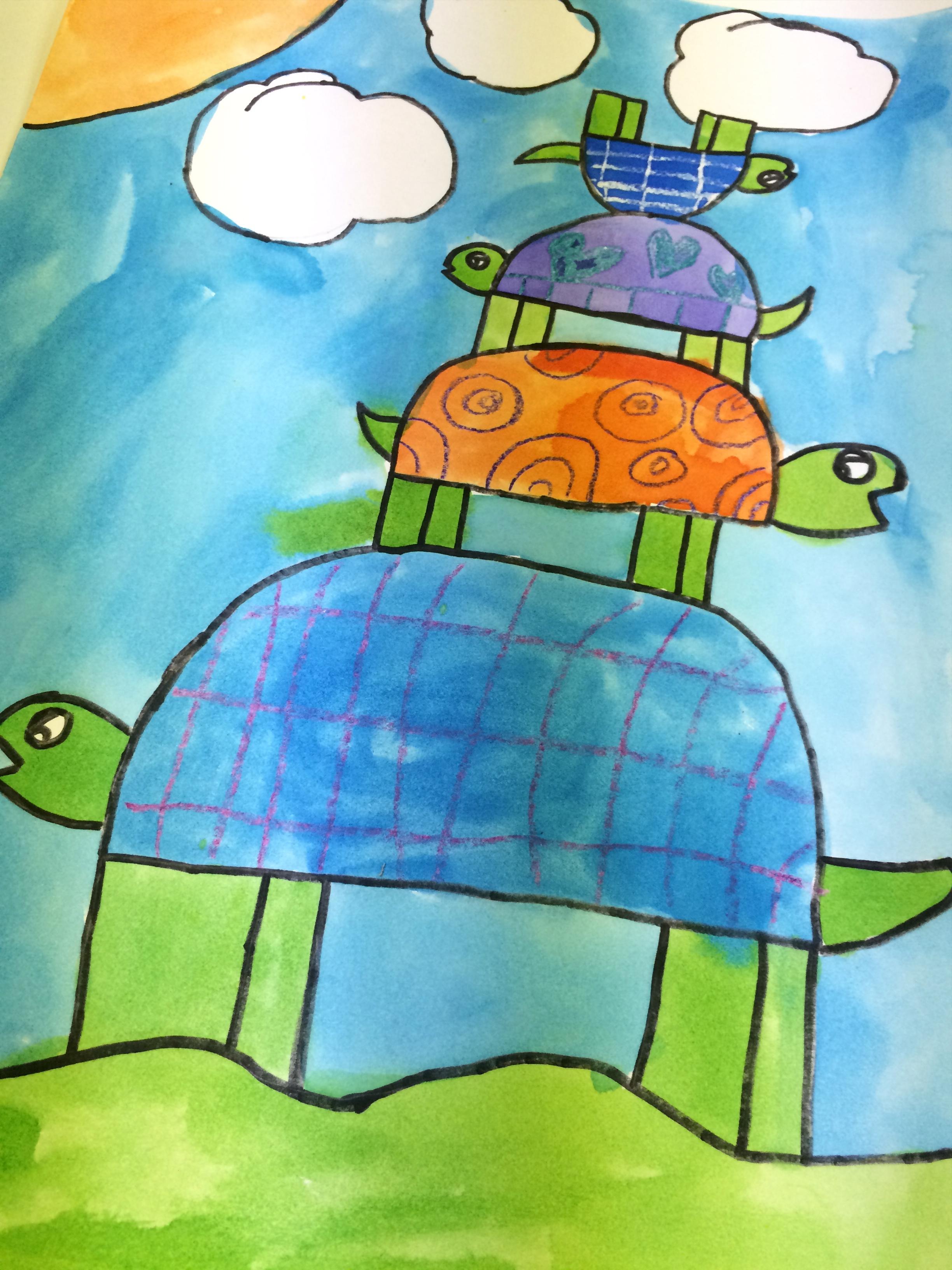 Stacked Turtles Watercolor Resistpainting