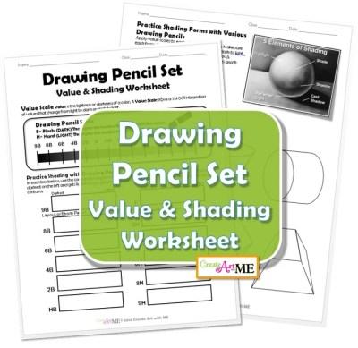 Drawing Pencil Set Value Shading Worksheet