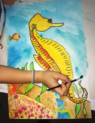 SeaHorse Watercolor Painting Warm Cool Colors