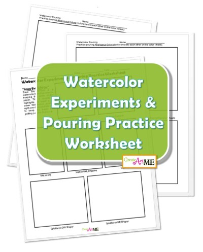 Watercolor Experiments & Pouring Practice Worksheet