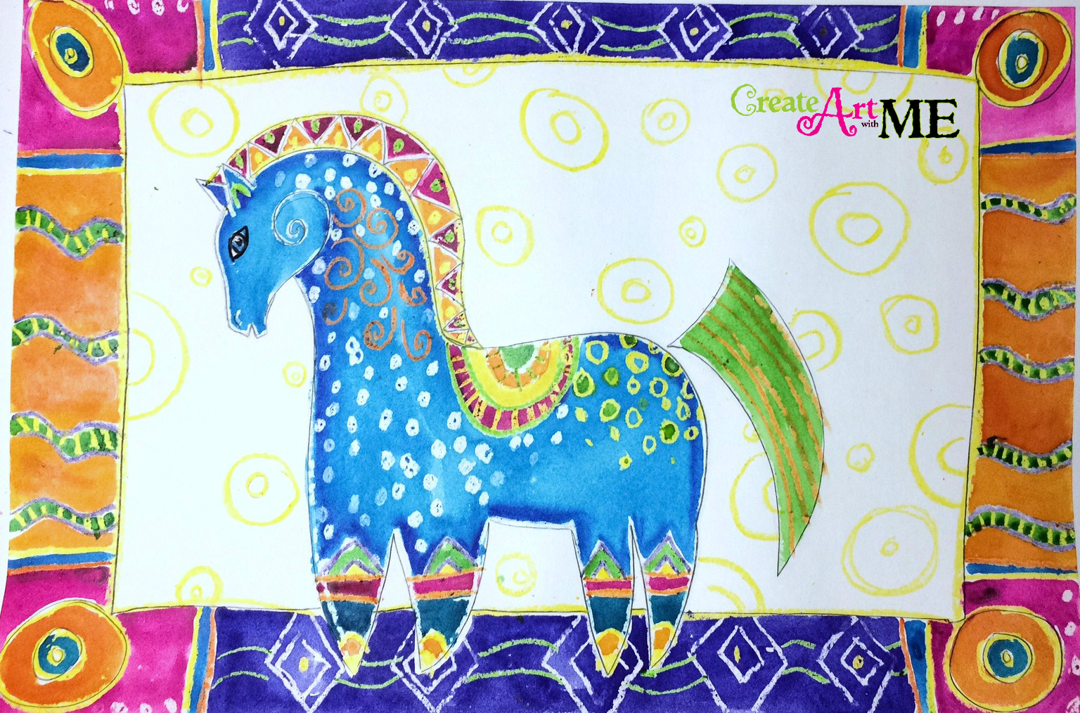 Laurel Burch Mythical Horses Inspired Art Lesson - Create Art with ME