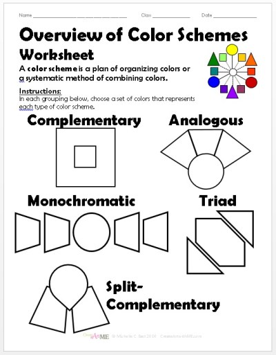 Overview Color Schemes Worksheet