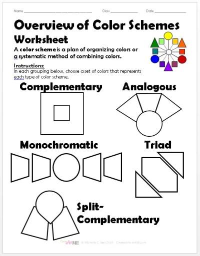 Overview Color Schemes Worksheet