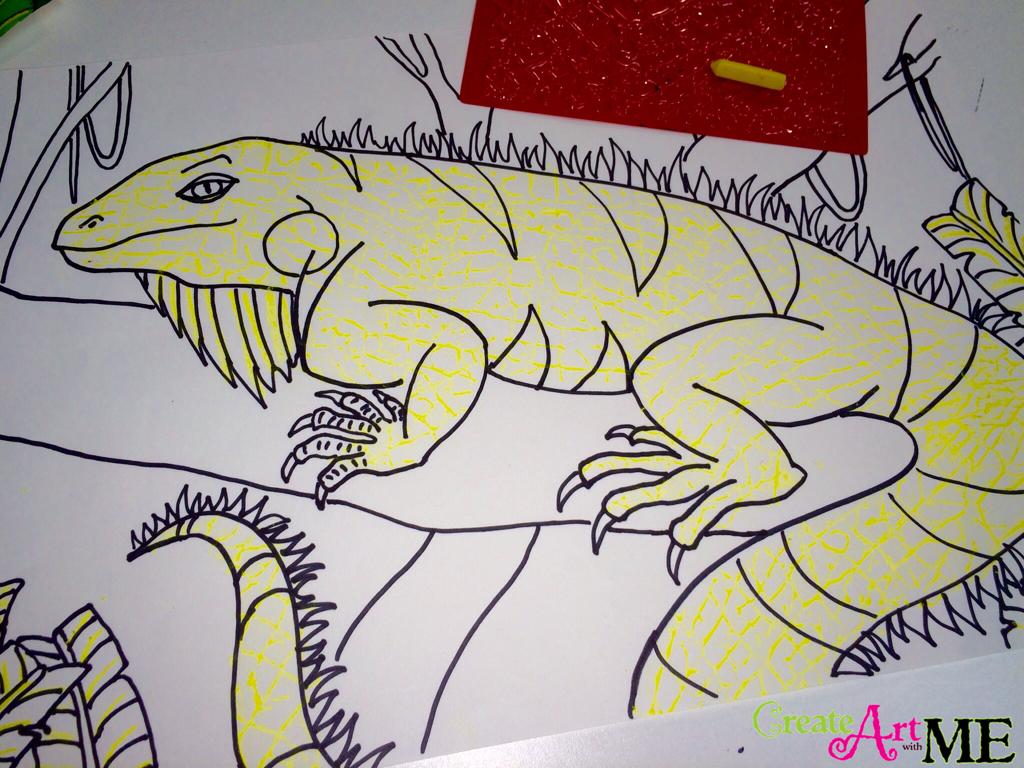 Color Contrast And Texture Rubbings Iguana Watercolor