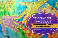 Warm & Cool Colors Handprint Pattern Watercolor & Crayon Resist Painting