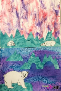 Mixed Media Polar Bear and Iceberg Collage
