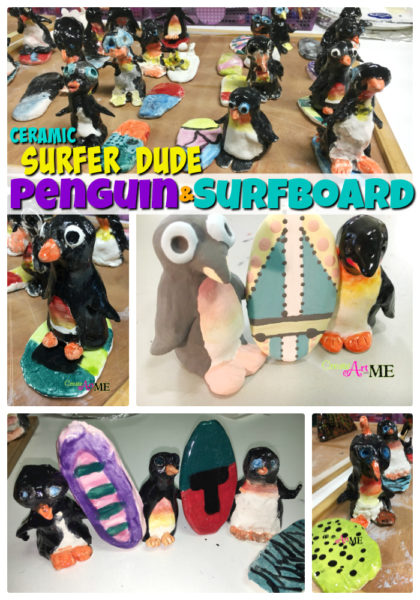 Ceramic Surfer Dude Penguin and Surfboard Thumb Clay Lesson