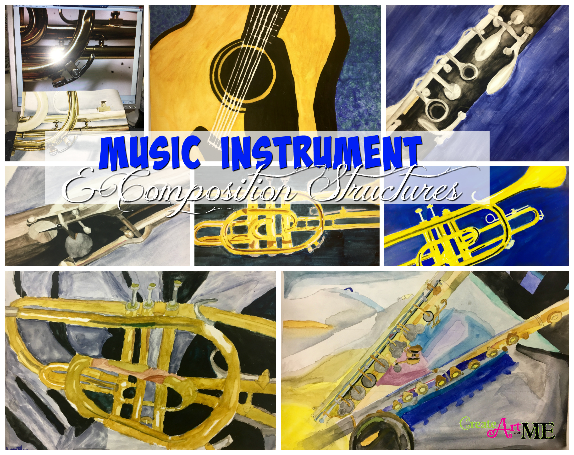 Music instruments and composition watercolor painting for The craft of musical composition