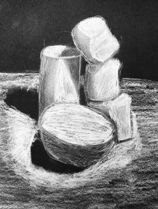 Marshmallow White Charcoal Drawing on Black Paper