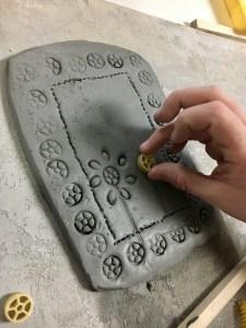 Clay Slab Wall Pocket with Pasta Noodle Designs