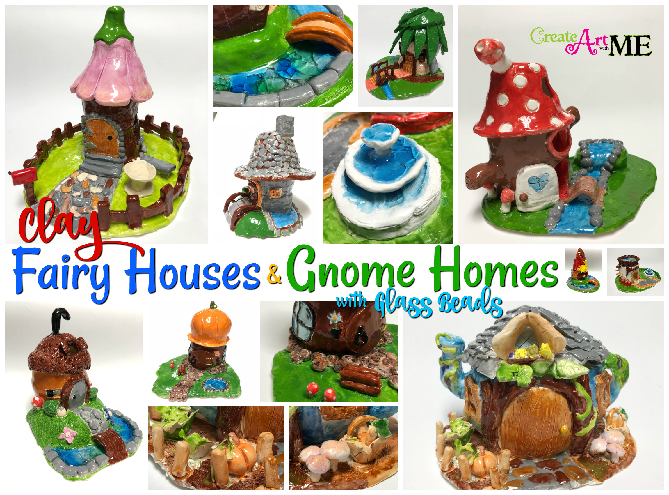 Clay Fairy House and Gnome Homes with Glass Beads - Create