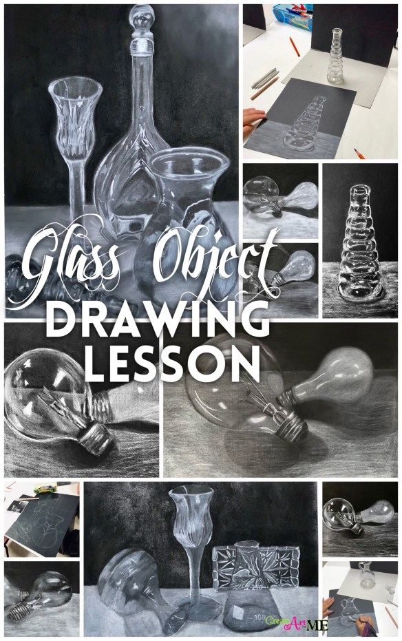 Glass Object Still Life White Charcoal drawing