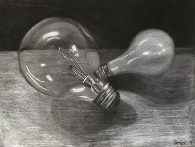 Light bulb white charcoal on black paper drawing
