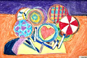 Wayne Thiebaud Forms Lollipop oil pastel lesson