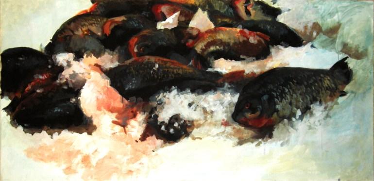 """Fish End"" - original painting, acrylic on canvas 150x100 cm"