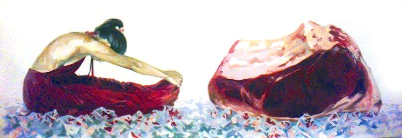 """Meat"" - original painting, acrylic on canvas 200x60 cm"