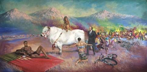 """'I Am The Leader' 98""""x46""""Acrylic on canvas"""