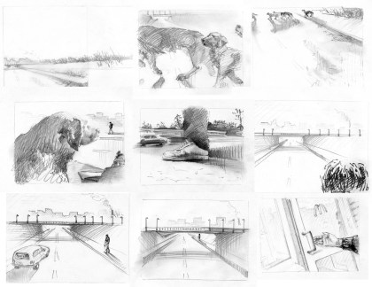 Faust - film Storyboard sketch, contemporary time interpretation, pencil on paper